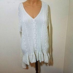 Cream V-neck Sweater